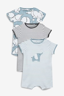 Elephant Character Rompers Three Pack (0mths-2yrs)