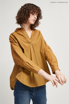French Connection Brown Rhodes Poplin Popover Shirt