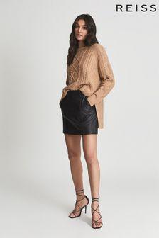 Reiss Eliza Leather Mini Skirt