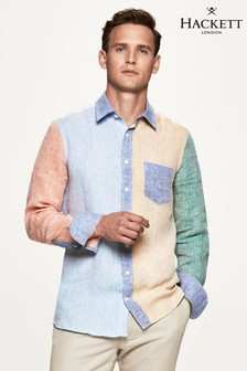 Hackett Blue Multi Panel Linen Shirt
