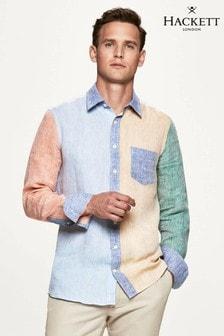 Camisa azul de lino con paneles y diseño multicolor de Hackett