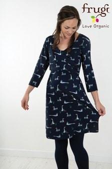 Frugi Canada Geese Kleid mit verdrehter Vorderseite, blau