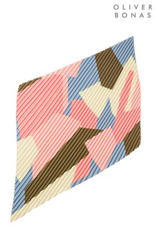 Oliver Bonas Yellow Abstract Pleated Square Scarf