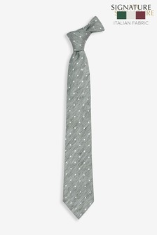'Made In Italy' Signature White Spot Silk Mix Tie