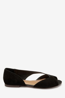 Signature Forever Comfort Leather Asymmetric Peep Toe