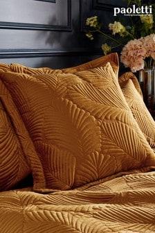 Riva Paoletti Gold Palmeria Quilted Cushion