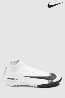 Nike White Power Up Superfly X 6 Academy Turf Football Boots