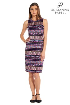 Adrianna Papell Pink Gogo Embroidery Sheath Dress