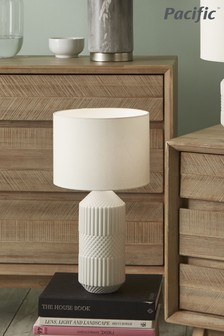 Pacific White Embossed Geo Tall Ceramic Table Lamp