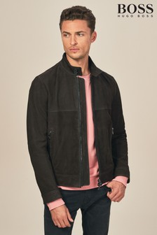 BOSS Brown Nubuck Leather Jacket