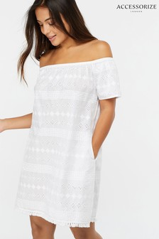 Accessorize White Off Shoulder Cotton Schiffli Dress