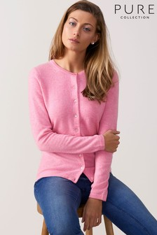 Pure Collection Pink Cashmere Crew Neck Cardigan