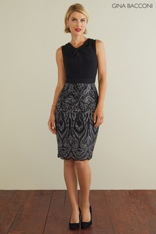 Gina Bacconi Black Mazie Sequin Dress