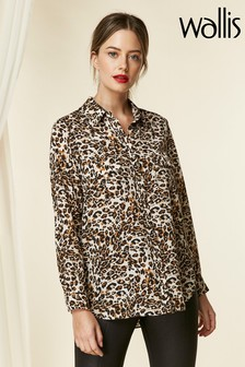 Wallis Petite Stone Animal Print Utility Shirt
