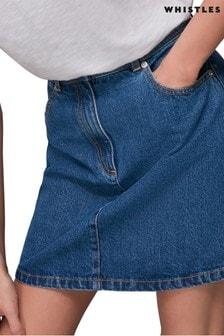Whistles Mid Wash Denim Button Skirt