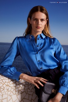 Tommy Hilfiger Blue Satin Button Down Blouse