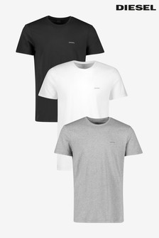Diesel® White/Black/Grey Underwear T-Shirts Three Pack