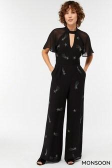 Monsoon Black Tanya Shooting Star Embellished Jumpsuit