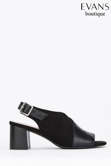 Evans Black Extra Wide Fit Material Mix Block Peep Shoe