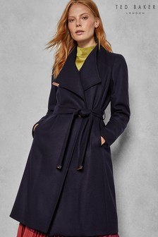 Ted Baker Navy Wool Wrap Coat