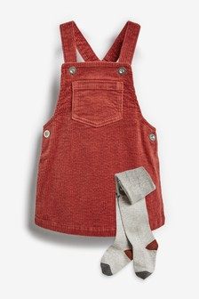 Cord Pinafore And Tights (3mths-7yrs)