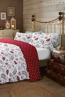 Fusion Exclusive to Next Skandi Robin Brushed Cotton Flannel Duvet Cover And Pillowcase Set