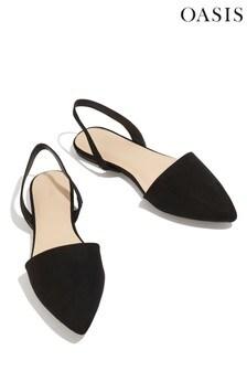Oasis Black Suzy Slingback Flat Sandals