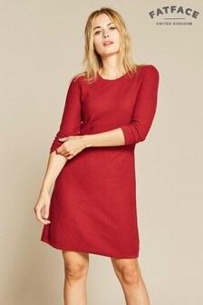 FatFace Red Emma Knit Jumper Dress