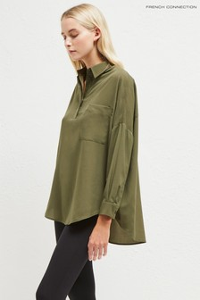 French Connection Green Crepe Light Plains Pocket Shirt