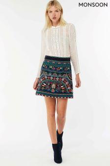 Monsoon Blue Electra Embroidered Pelmet Skirt