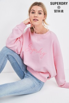 Superdry Pink Crew Sweat Top