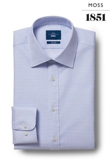 Moss 1851 Tailored Fit Sky Single Cuff Oval Texture Shirt
