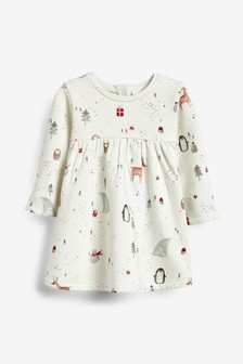 Christmas Character Print Dress (0mths-2yrs)
