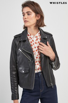 Whistles Black Pocket Leather Jacket