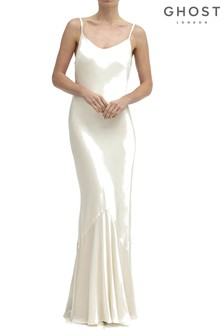 Ghost London Cream Bella Satin Dress