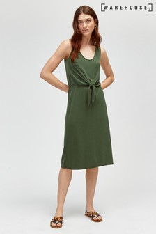 Warehouse Khaki Poly Modal Tie Front Dress