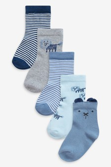 5 Pack Lion Character Socks (Younger)