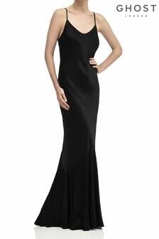 Ghost London Black Bella Satin Dress