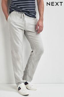 Pantalon en mélange de lin avec cordon de serrage