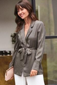 Animal Jacquard Soft Belted Jacket