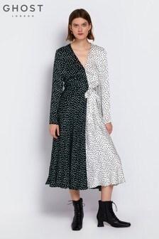 Ghost London Black Lucy Printed Satin Dress