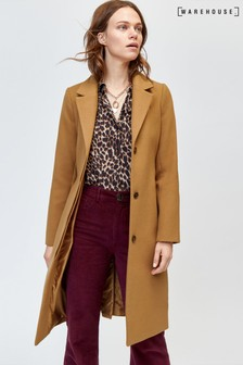 Warehouse Camel Clean Belted Coat