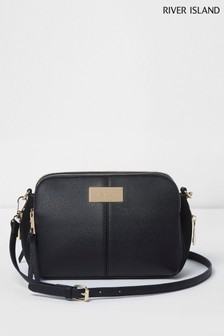 River Island Black Triple Comp X Body Bag 874b0d27f9be2