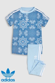 adidas Originals Baby Blue Printed Tee And Legging Set