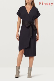 Finery London Sanford Midnight And Black Obi Wrap Dress
