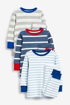3 Pack Stripes Snuggle Pyjamas (9mths-8yrs)