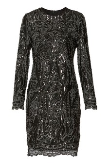Gina Bacconi Black Marzena Sequin Swirl Dress