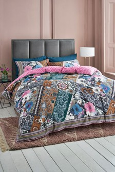 Cotton Sateen Patchwork Bloom Duvet Cover and Pillowcase Set