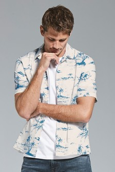 Hawaiian Island Print Regular Fit Shirt