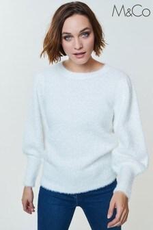 M&Co White Fluffy Blouson Sleeve Jumper